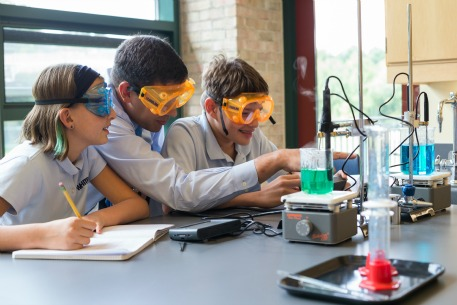 Students in science class at Whitby school