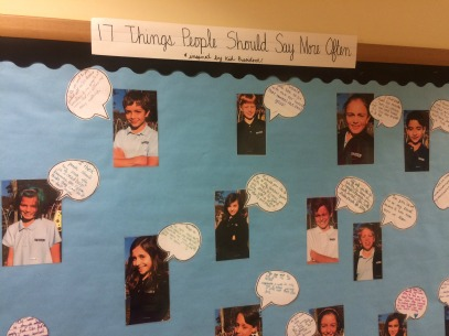 Bulletin board in a classroom at Whitby School